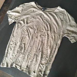 Distressed oversized olive shirt